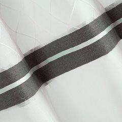 Nowoczesna firana z lamówką biel stal na przelotkach 140x250 - 140 X 250 cm - biały 3