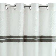 Nowoczesna firana z lamówką biel stal na przelotkach 140x250 - 140 X 250 cm - biały 6