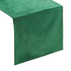 Ciemny zielony bieżnik z welwetu do jadalni 35x140 cm - 35 X 140 cm - ciemnozielony 1