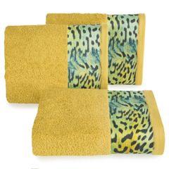 Ręcznik kąpielowy - mój wybór Eva Minge - musztardowy i zwierzęcy wzór 50x90 cm - 50 X 90 cm - musztardowy 1