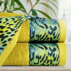 Ręcznik kąpielowy - mój wybór Eva Minge - musztardowy i zwierzęcy wzór 50x90 cm - 50x90 - Musztardowy 5