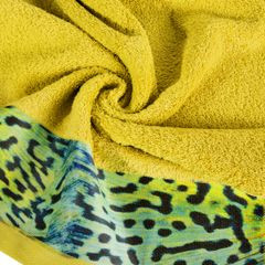 Ręcznik kąpielowy - mój wybór Eva Minge - musztardowy i zwierzęcy wzór 50x90 cm - 50x90 - Musztardowy 1