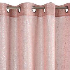Nowoczesna różowa firana ze srebrnym nadrukiem na przelotkach 140x250 cm - 140 X 250 cm - różowy 6