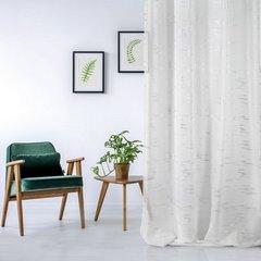 Zasłona LIN ze biała ze srebrnym nadrukiem 140x250cm na przelotkach - 140x250 - biały i srebrny 2