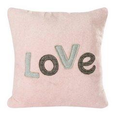 Różowa POSZEWKA Z MIKROFLANO z napisem LOVE romantyczny 45x45 cm - 45 X 45 cm - różowy/popielaty 1