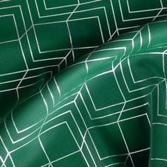 POLI ZIELONA ZASŁONA ZACIEMNIAJĄCA NA PRZELOTKACH ZE ZŁOTYM WZOREM GEOMETRYCZNYM 140x250cm - 140 X 250 cm - zielony 5