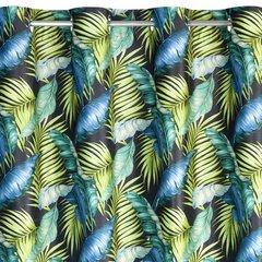 BONNIE CZARNA ZASŁONA Z WELWETU W PALMOWE LIŚCIE na przelotkach 140x250cm - 140 X 250 cm - zielony 2